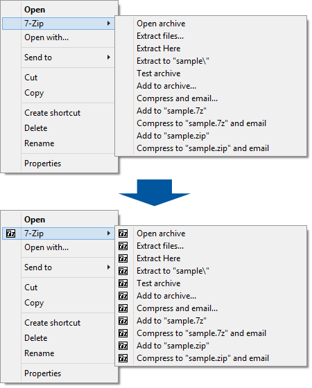 Adds icons to cascaded context menu